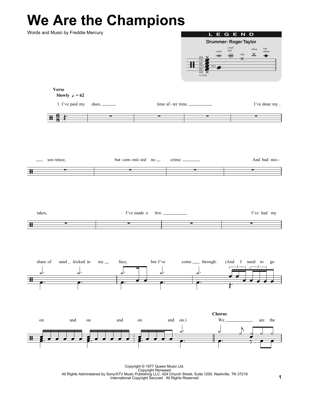 We Are The Champions (Drums Transcription)