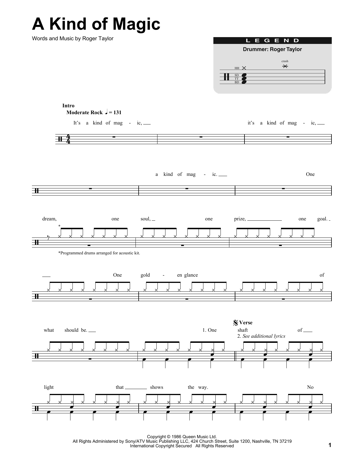 A Kind Of Magic (Drums Transcription)
