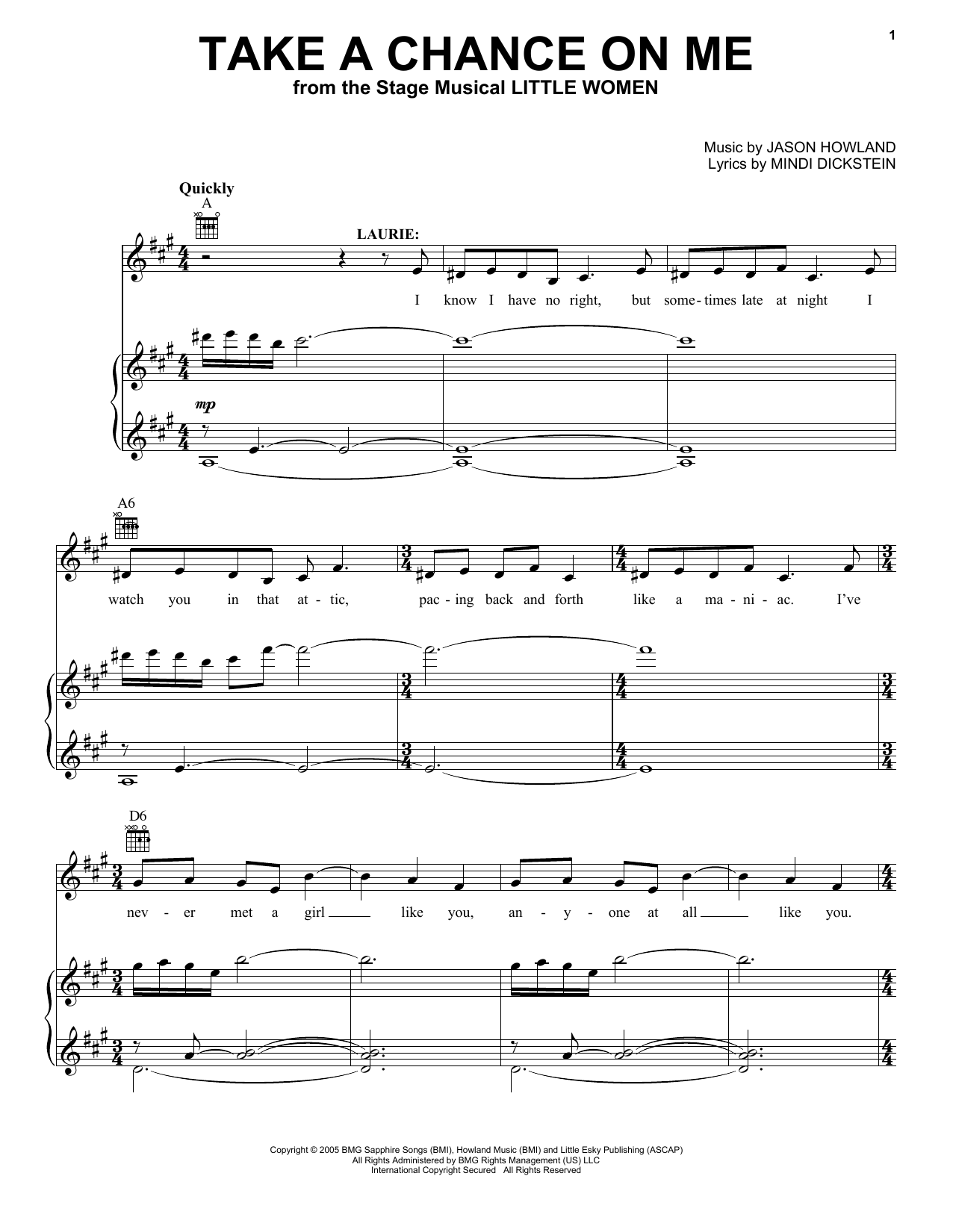 Take A Chance On Me (from Little Women - The Musical) (Vocal Pro + Piano/Guitar)