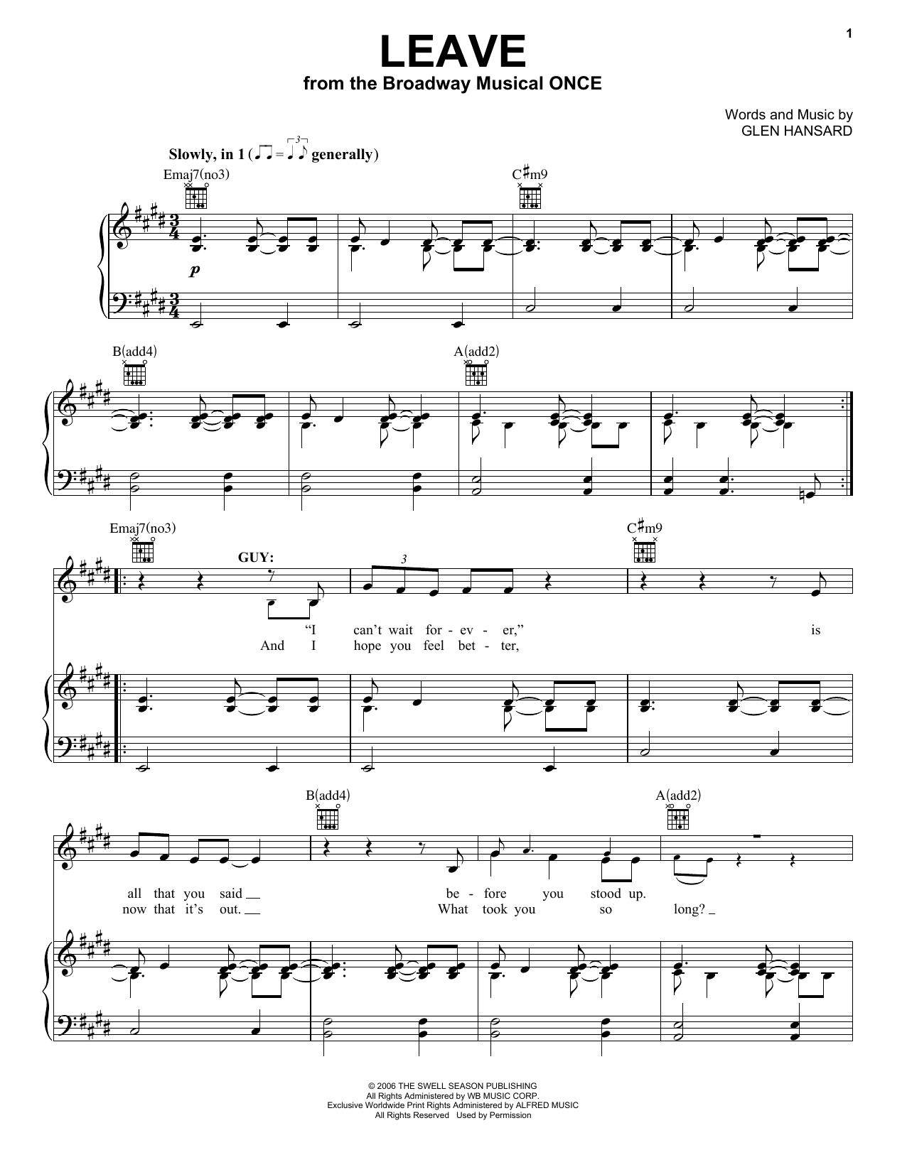 Leave (Vocal Pro + Piano/Guitar)