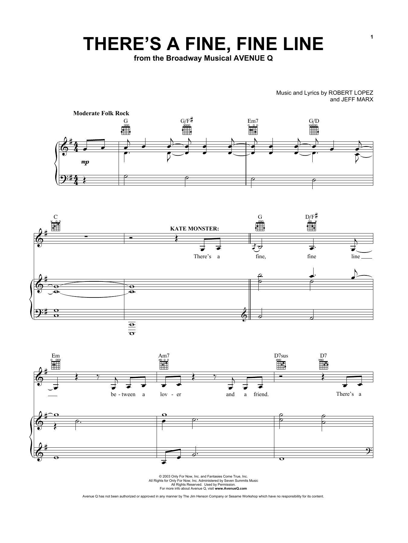 There's A Fine, Fine Line (from Avenue Q) (Vocal Pro + Piano/Guitar)