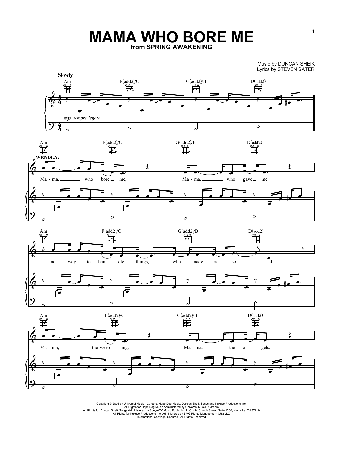 Mama Who Bore Me (from Spring Awakening) (Vocal Pro + Piano/Guitar)