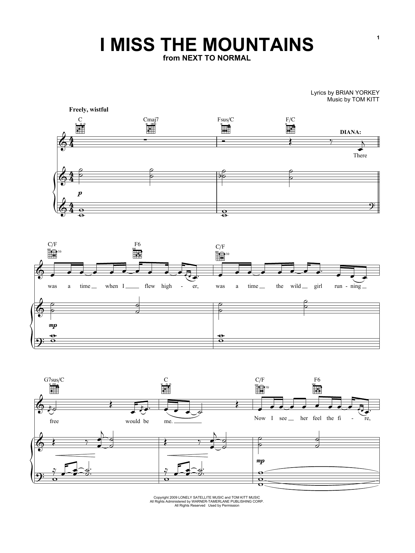 I Miss The Mountains (from Next To Normal) (Vocal Pro + Piano/Guitar)
