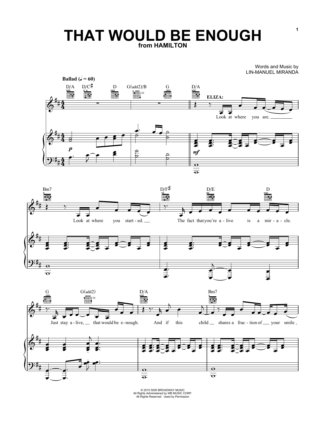 That Would Be Enough (from Hamilton) (Vocal Pro + Piano/Guitar)