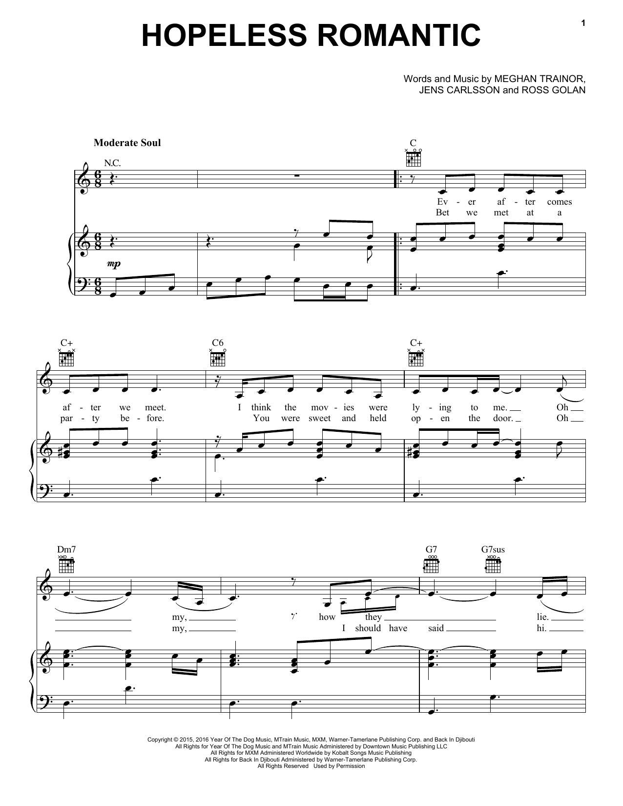 Hopeless Romantic (Piano, Vocal & Guitar (Right-Hand Melody))
