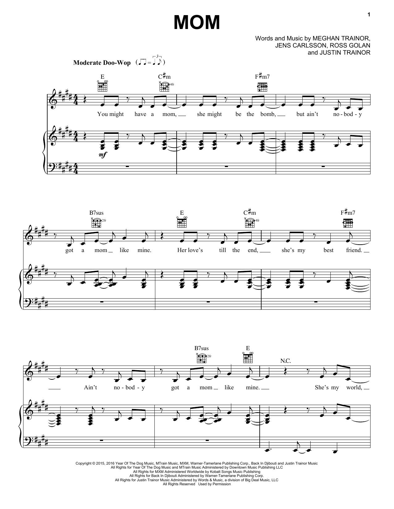 Mom (feat. Kelli Trainor) (Piano, Vocal & Guitar (Right-Hand Melody))
