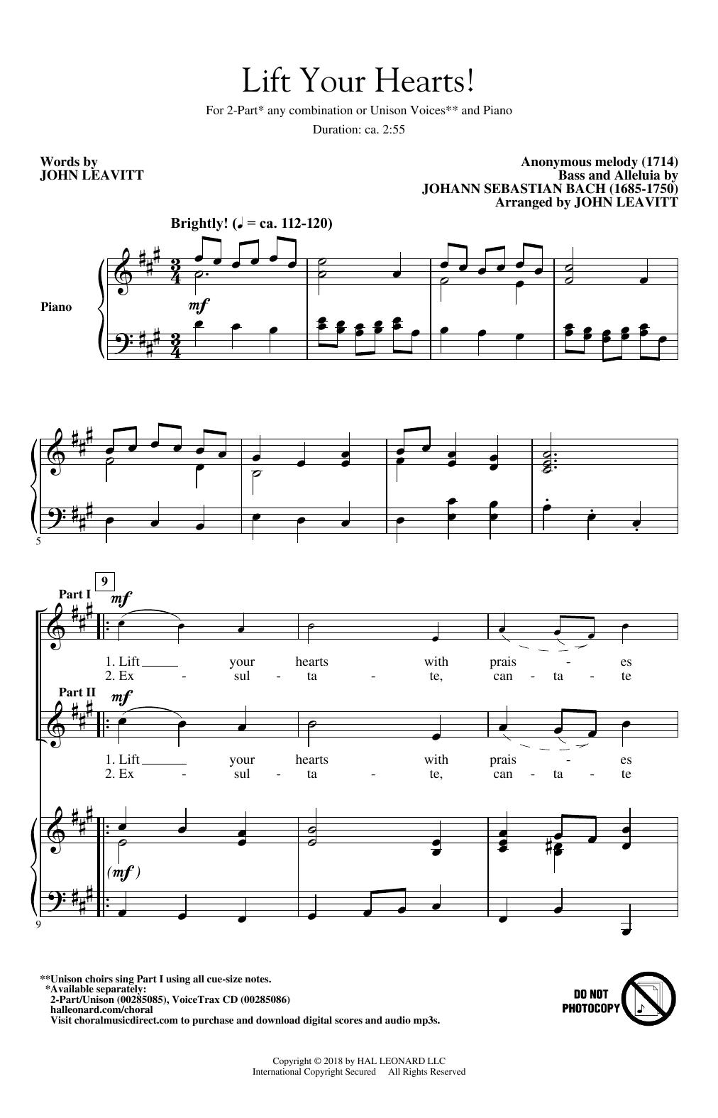 Lift Your Hearts! (arr. John Leavitt) (2-Part Choir)