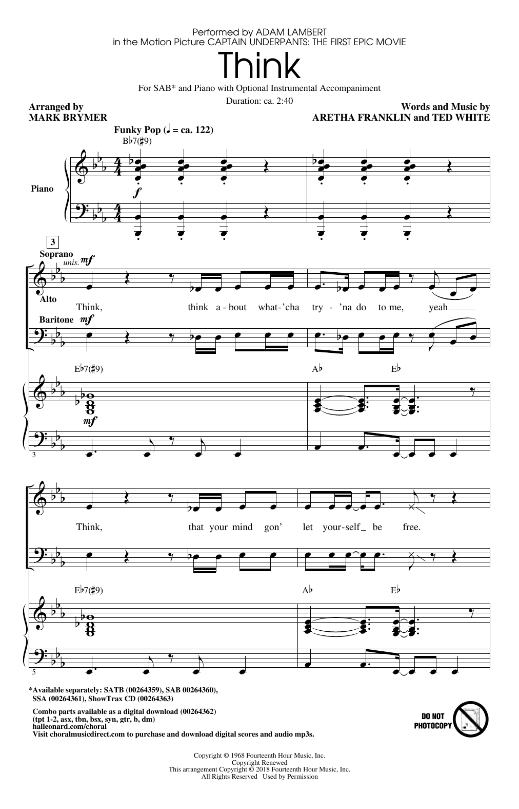 Think (from Captain Underpants: The First Epic Movie) (Arr. Mark Brymer) (SAB Choir)