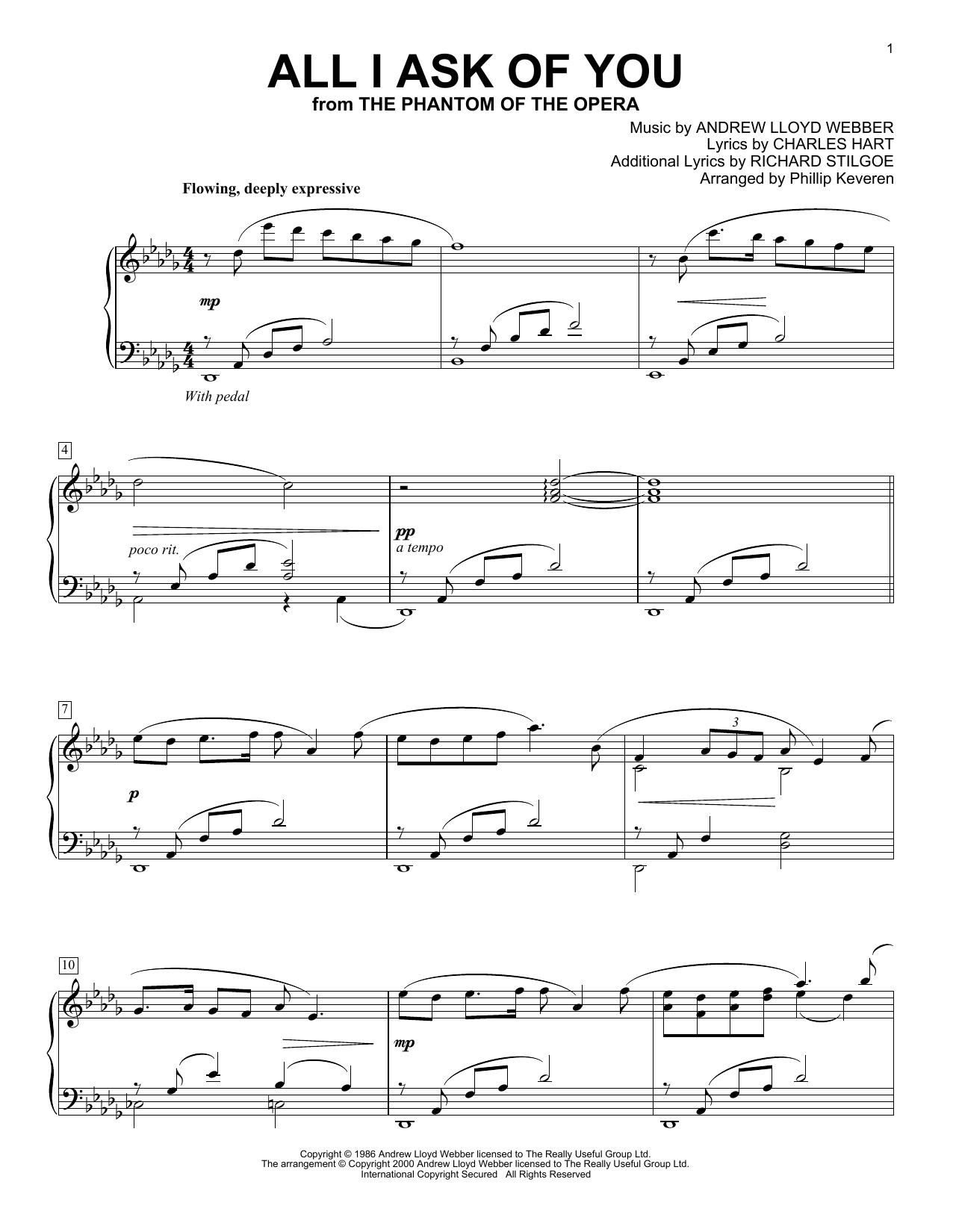 All I Ask Of You (from The Phantom Of The Opera) (arr. Phillip Keveren) (Piano Solo)