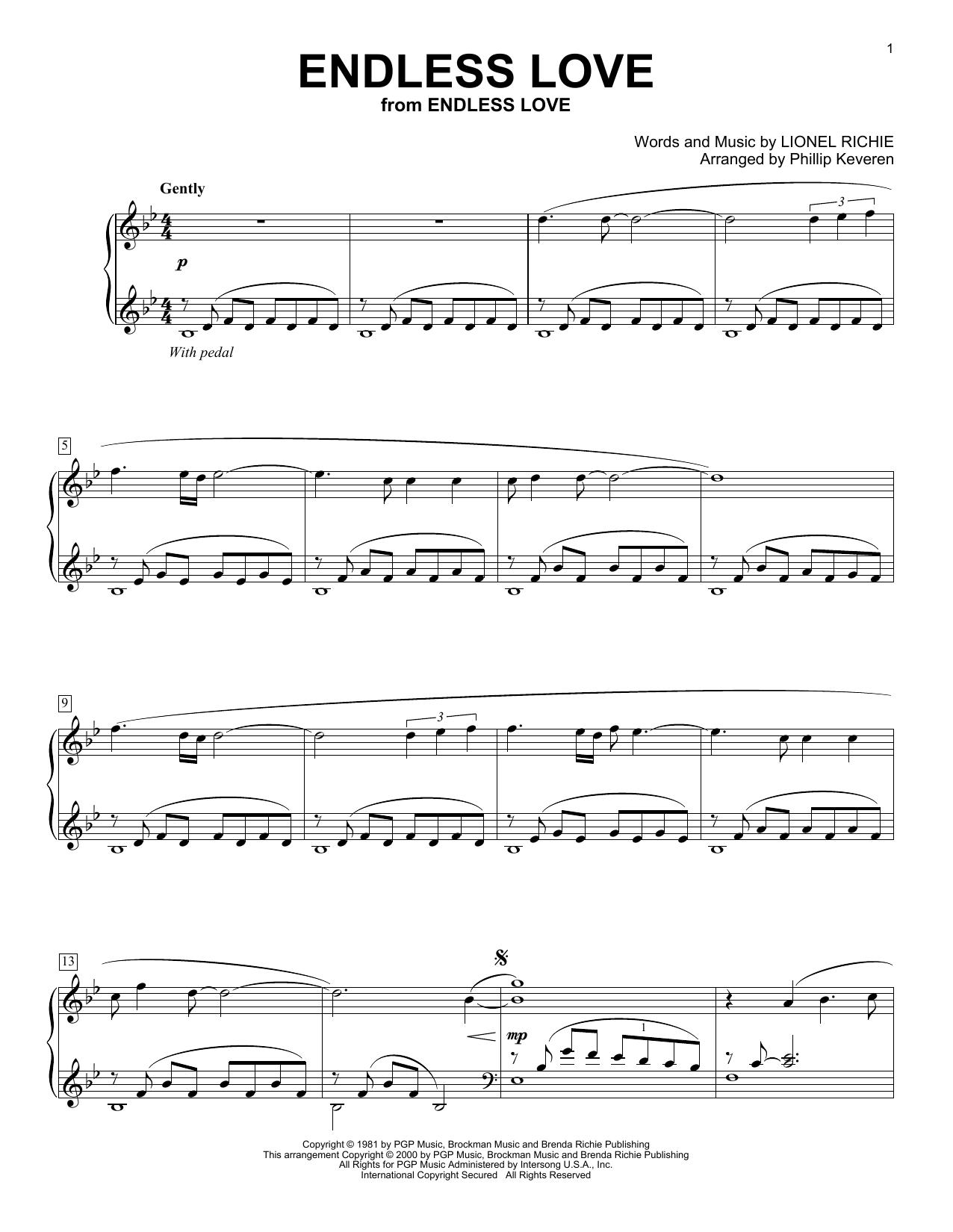 Endless Love (arr. Phillip Keveren) (Piano Solo)