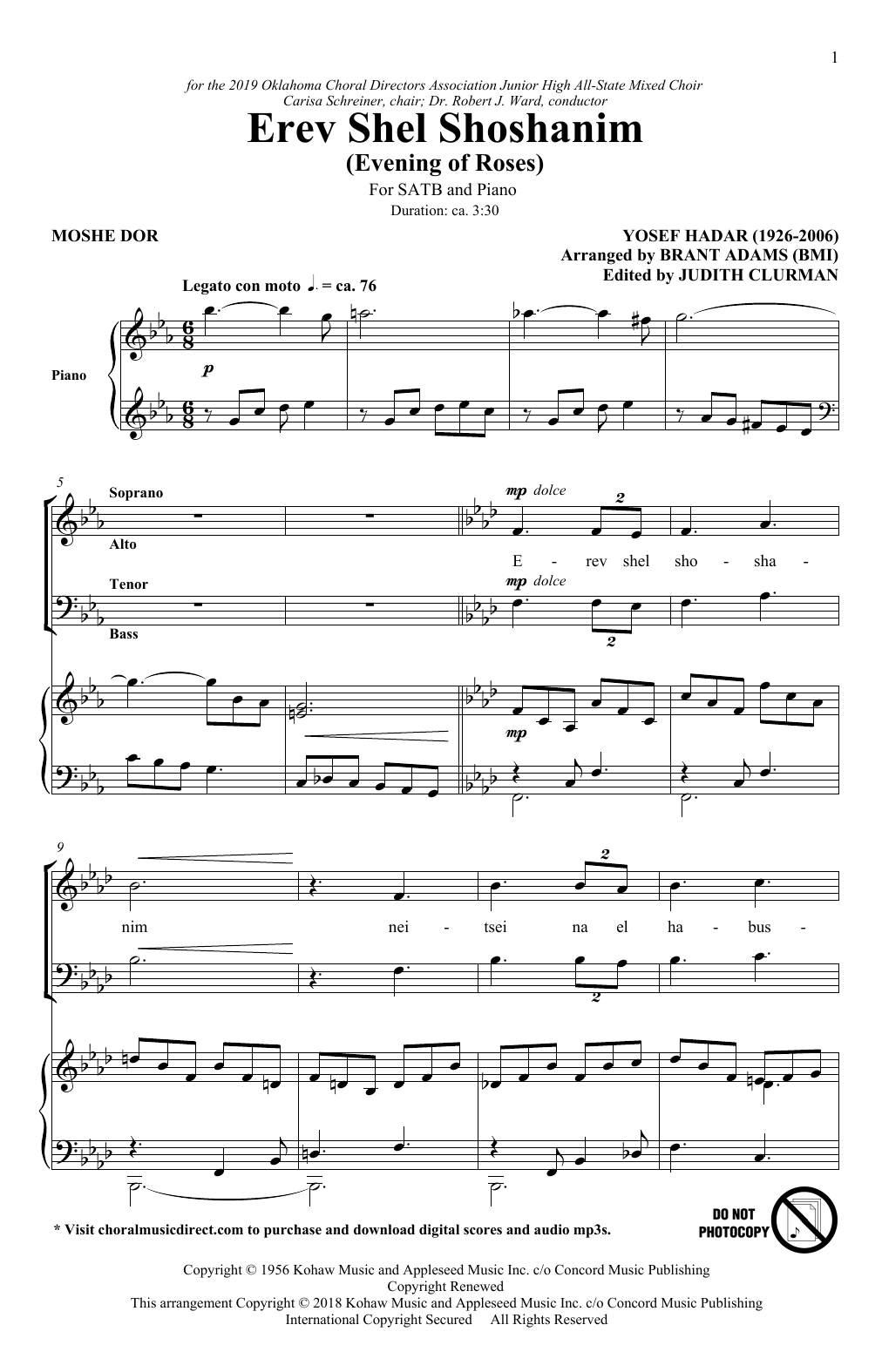 Erev Shel Shoshanim (arr. Brant Adams) (SATB Choir)