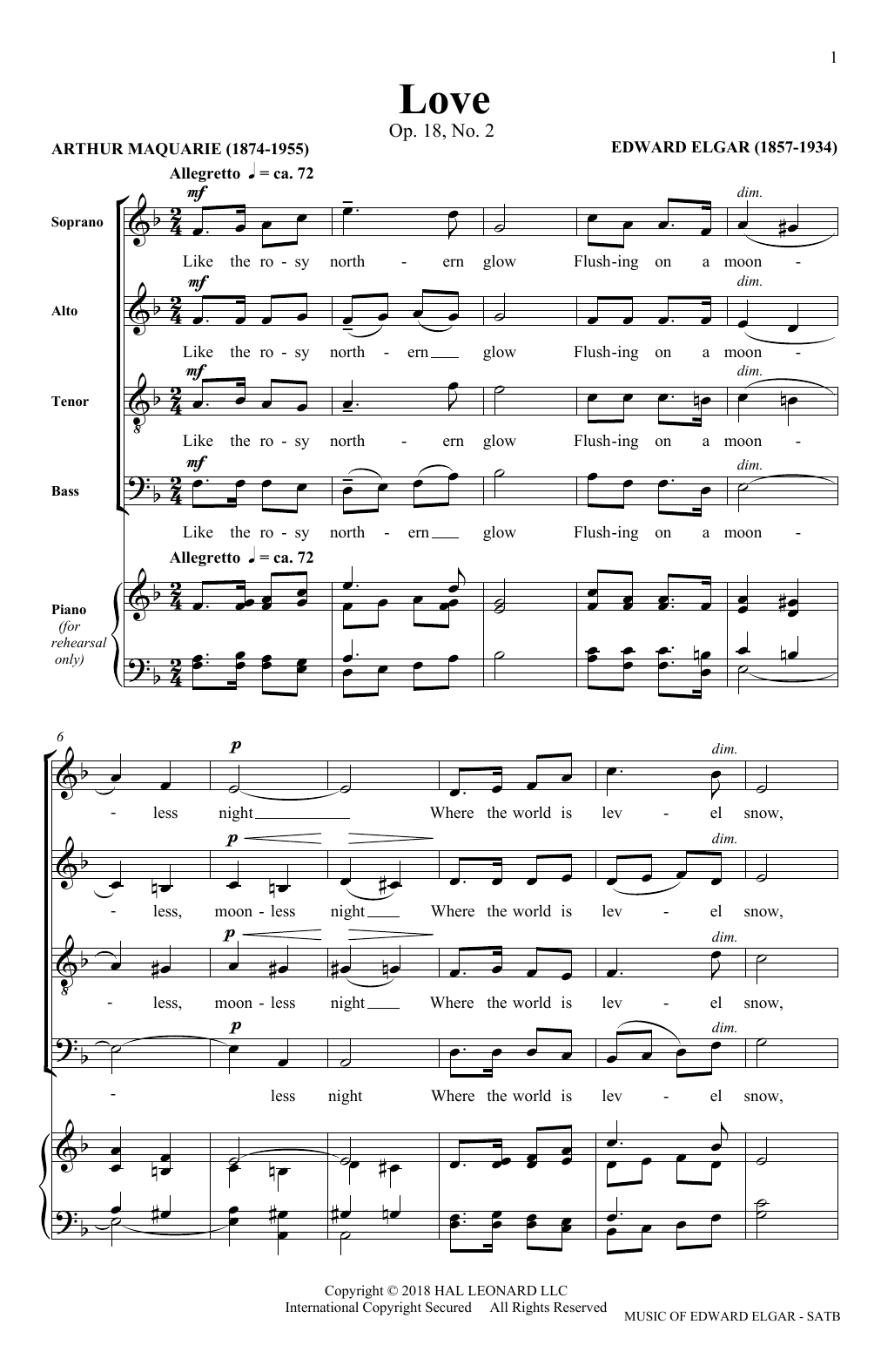 Love (arr. Philip Lawson) (SATB Choir)