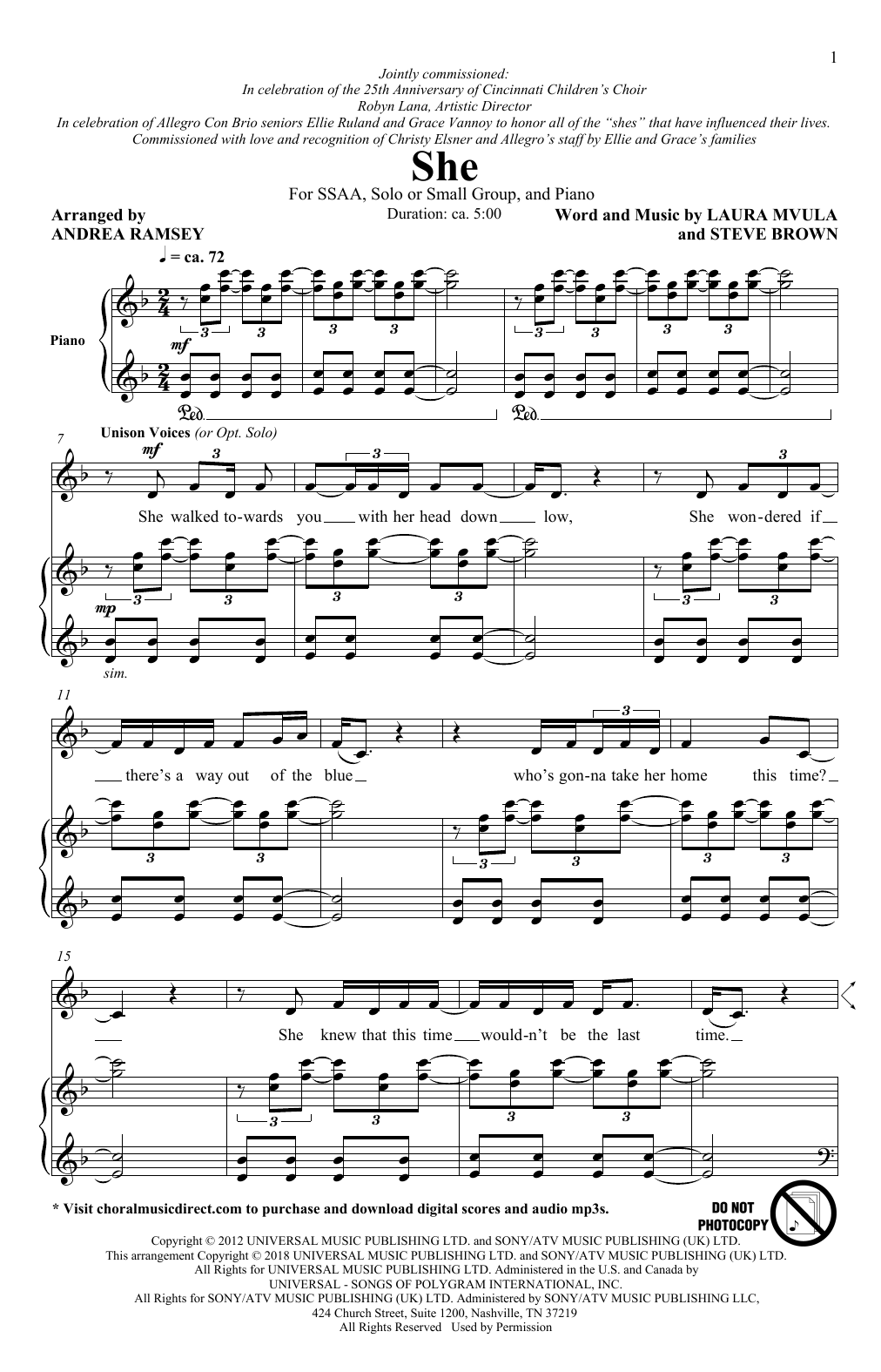 She (arr. Andrea Ramsey) (SSA Choir)
