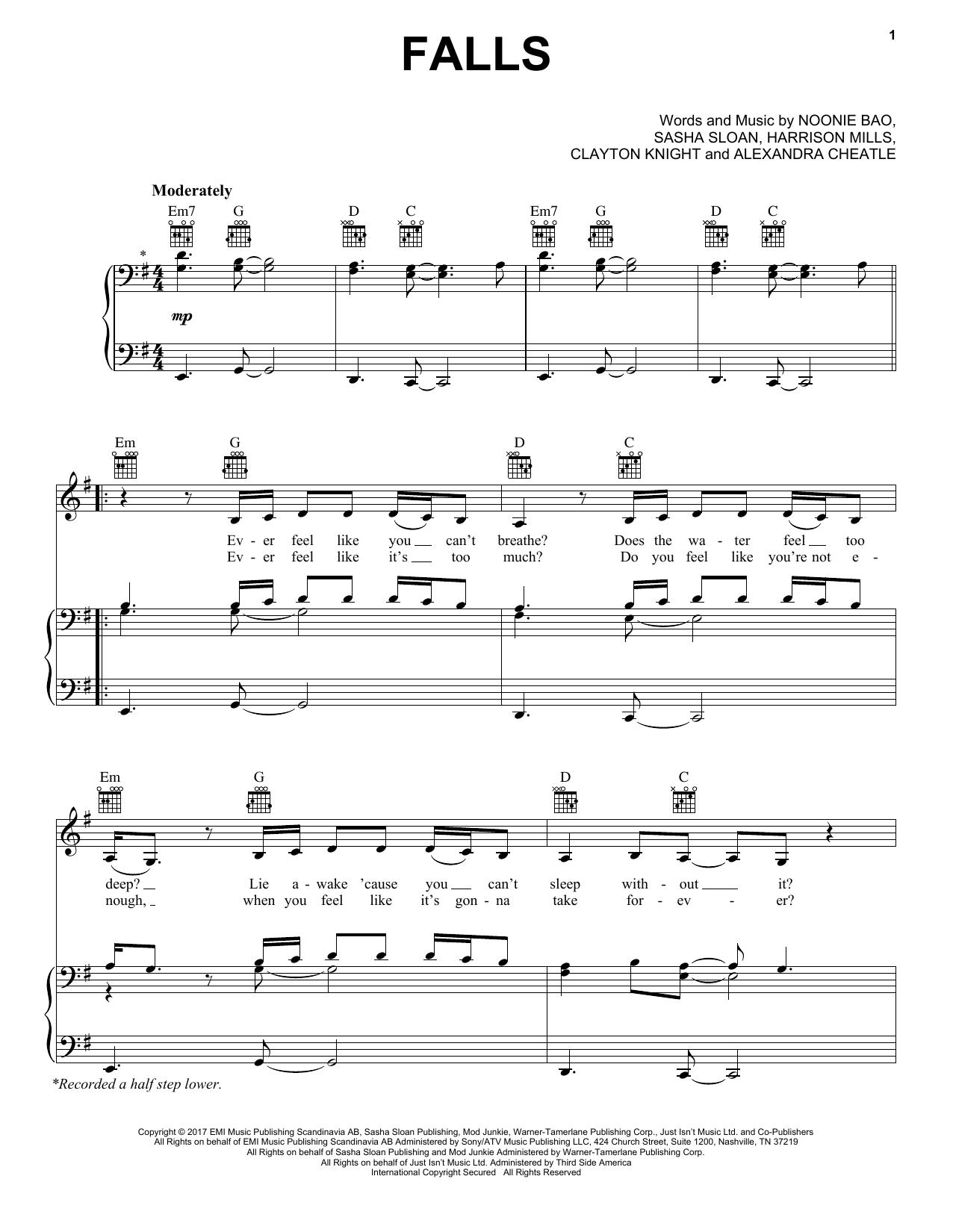 Falls (Feat. Sasha Sloan) (Piano, Vocal & Guitar (Right-Hand Melody))