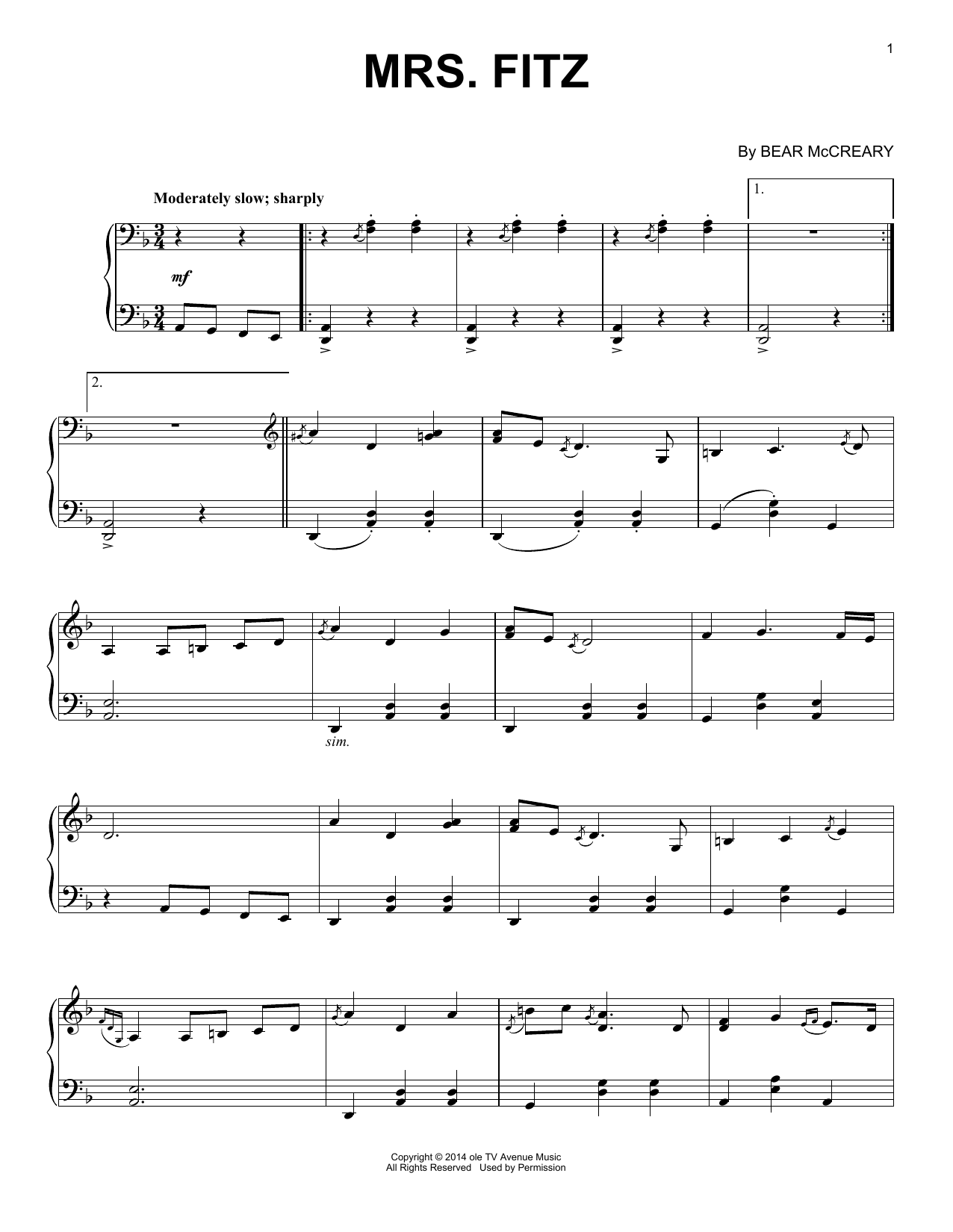 Mrs. Fitz (from Outlander) (Piano Solo)