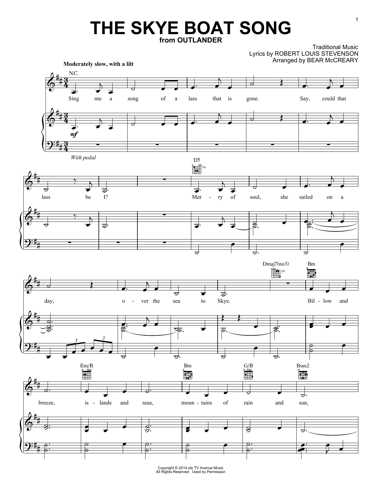 The Skye Boat Song (from Outlander) (Piano, Vocal & Guitar (Right-Hand Melody))