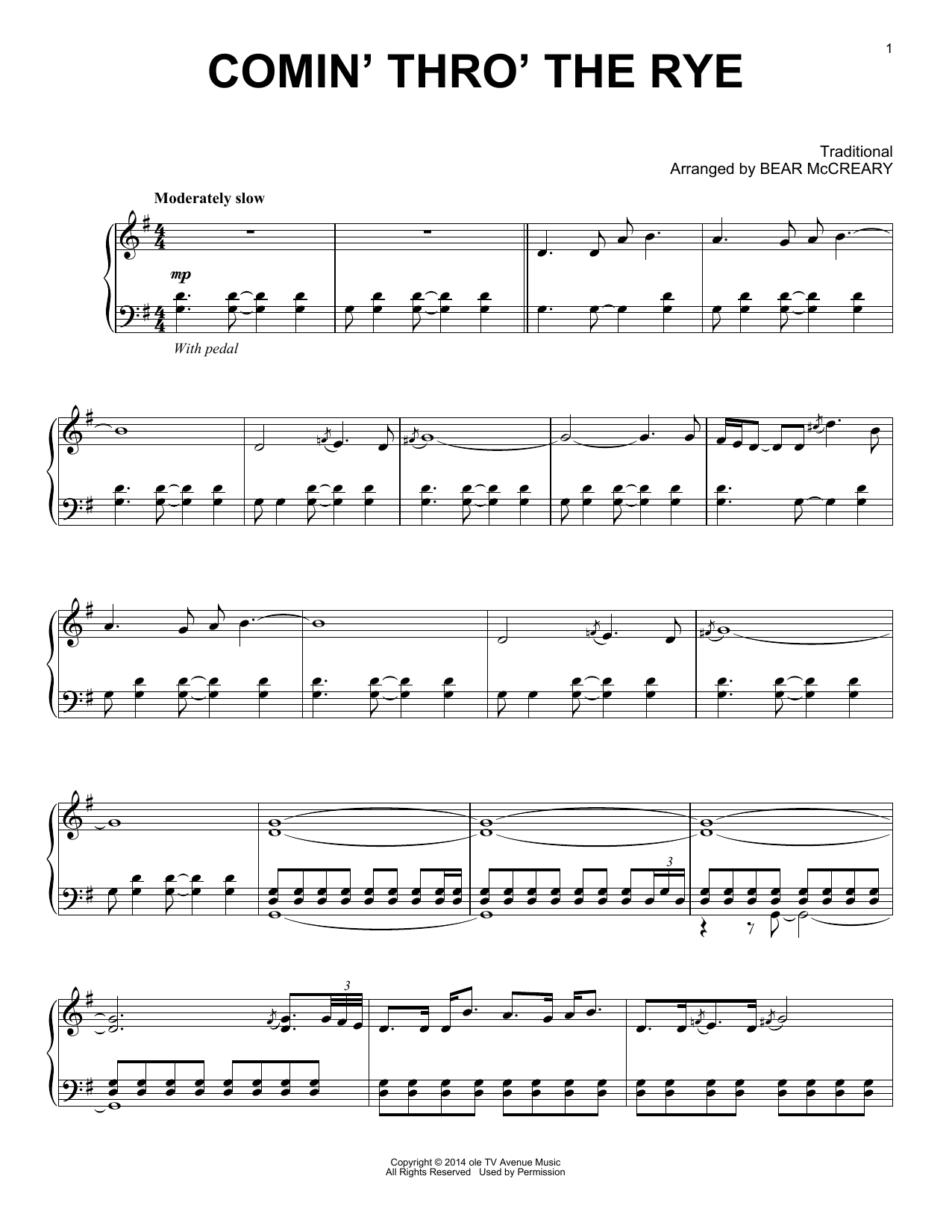 Comin' Thro' The Rye (from Outlander) (Piano Solo)