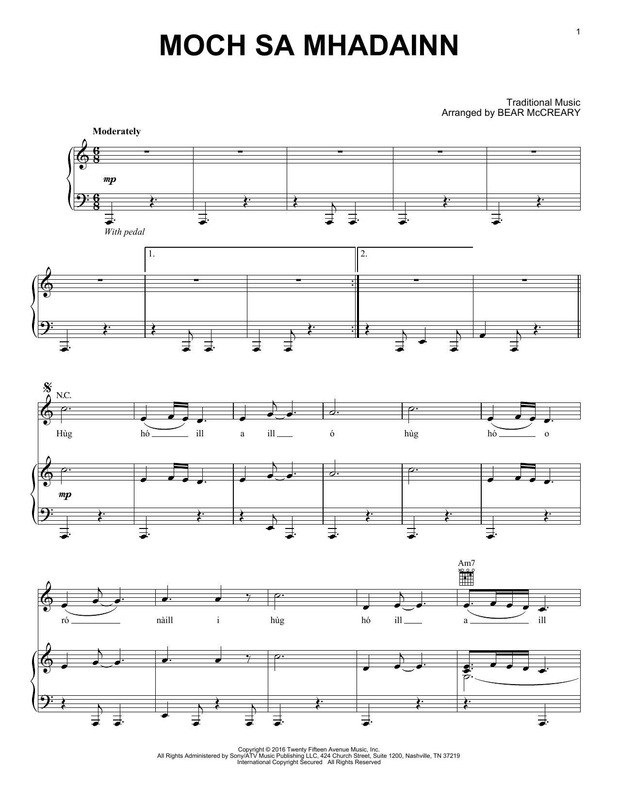 Moch Sa Mhadainn (from Outlander) (Piano Solo)