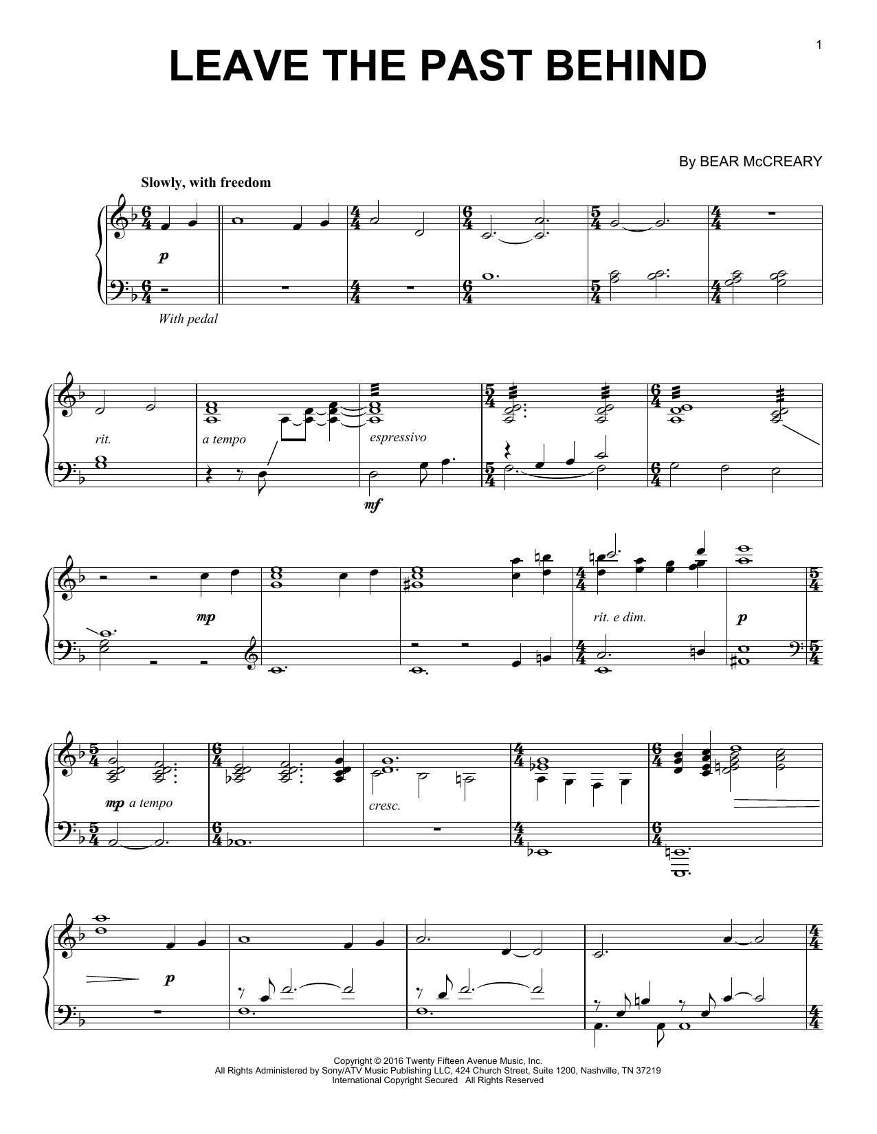 Leave The Past Behind (from Outlander) (Piano Solo)