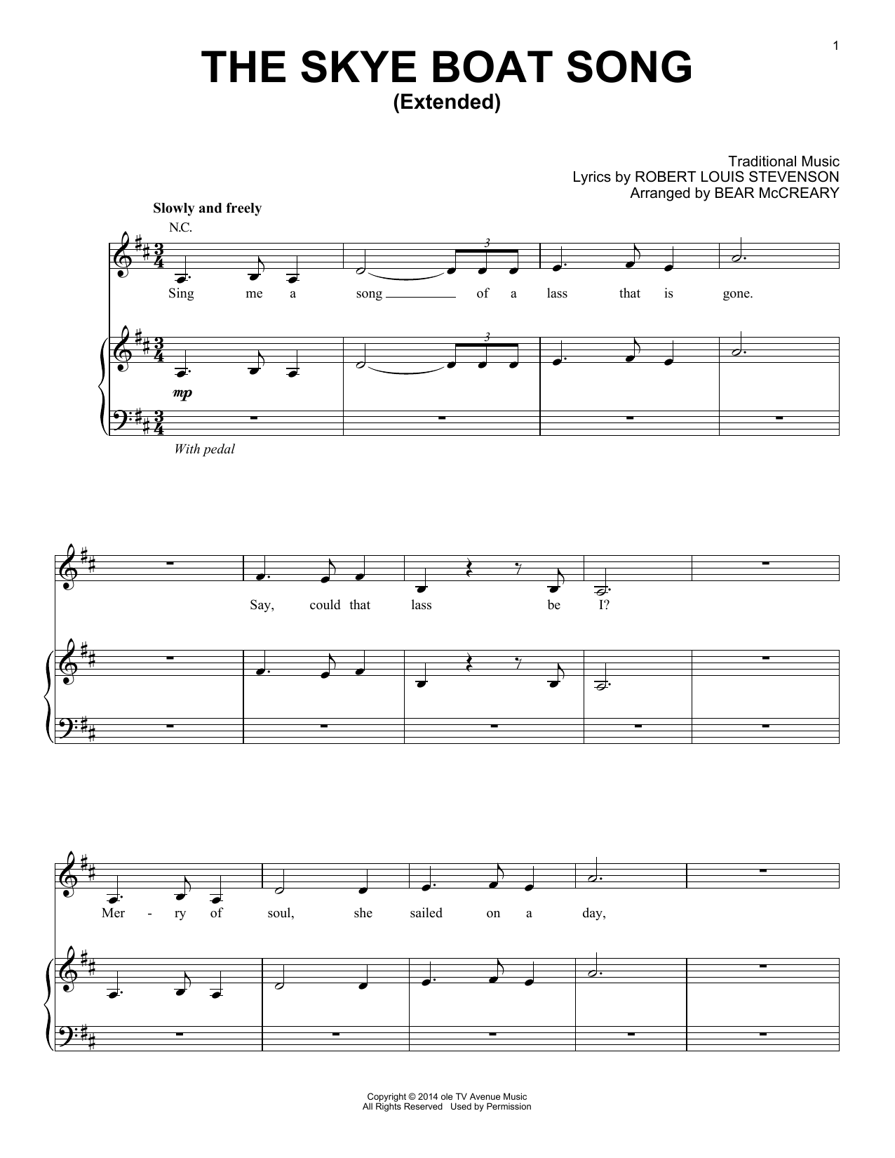 The Skye Boat Song (Extended) (from Outlander) (Piano, Vocal & Guitar (Right-Hand Melody))
