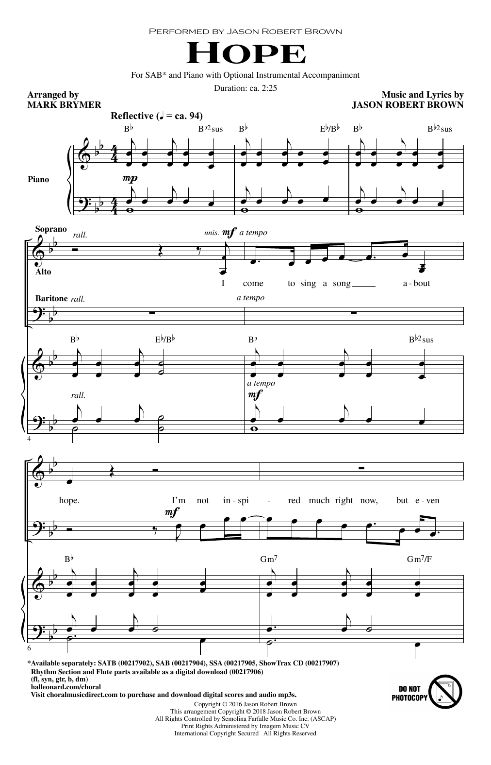 page one of Hope (from How We React and How We Recover) (arr. Mark Brymer)ASALTTEXT