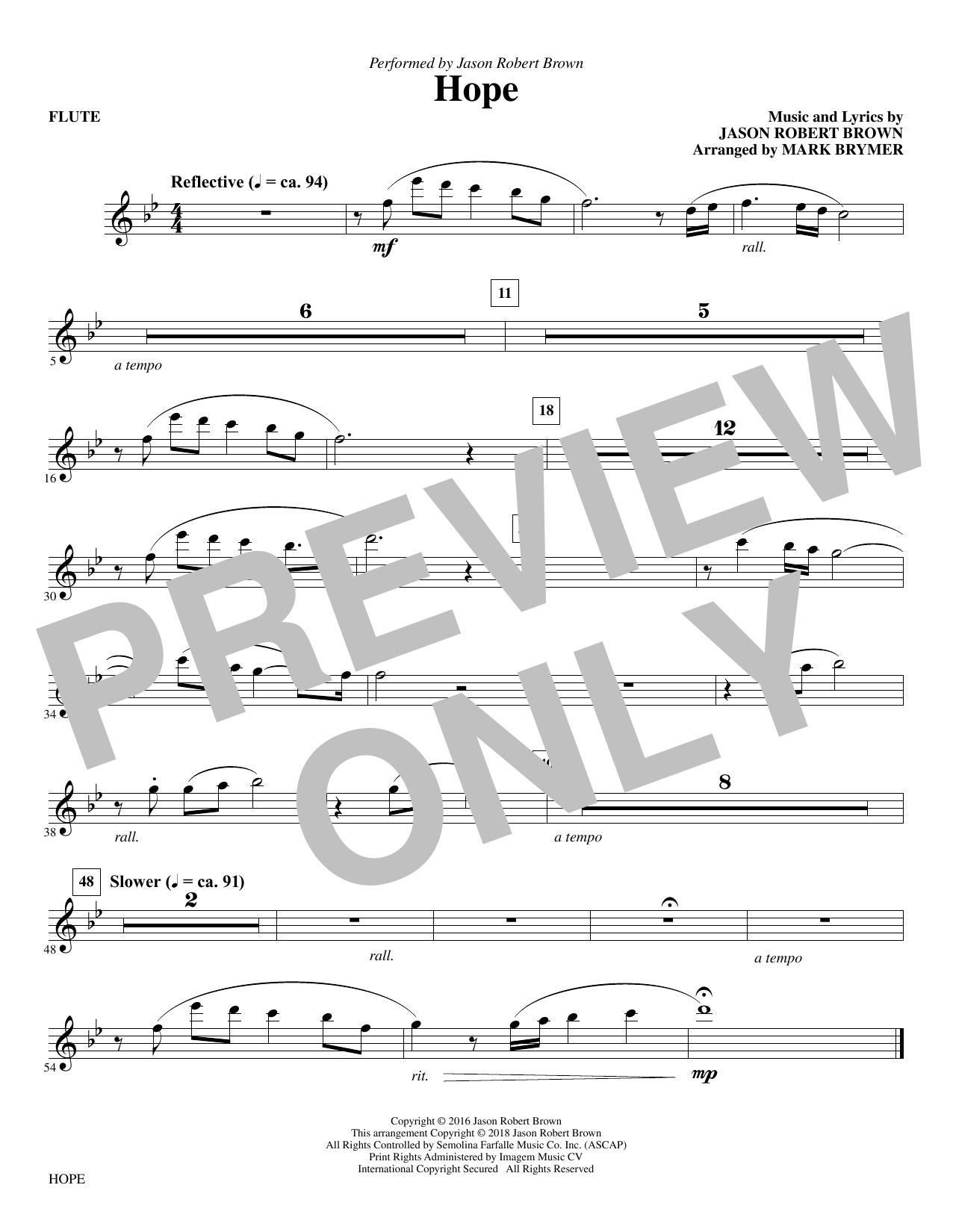 Hope (arr. Mark Brymer) - Flute (Choir Instrumental Pak)