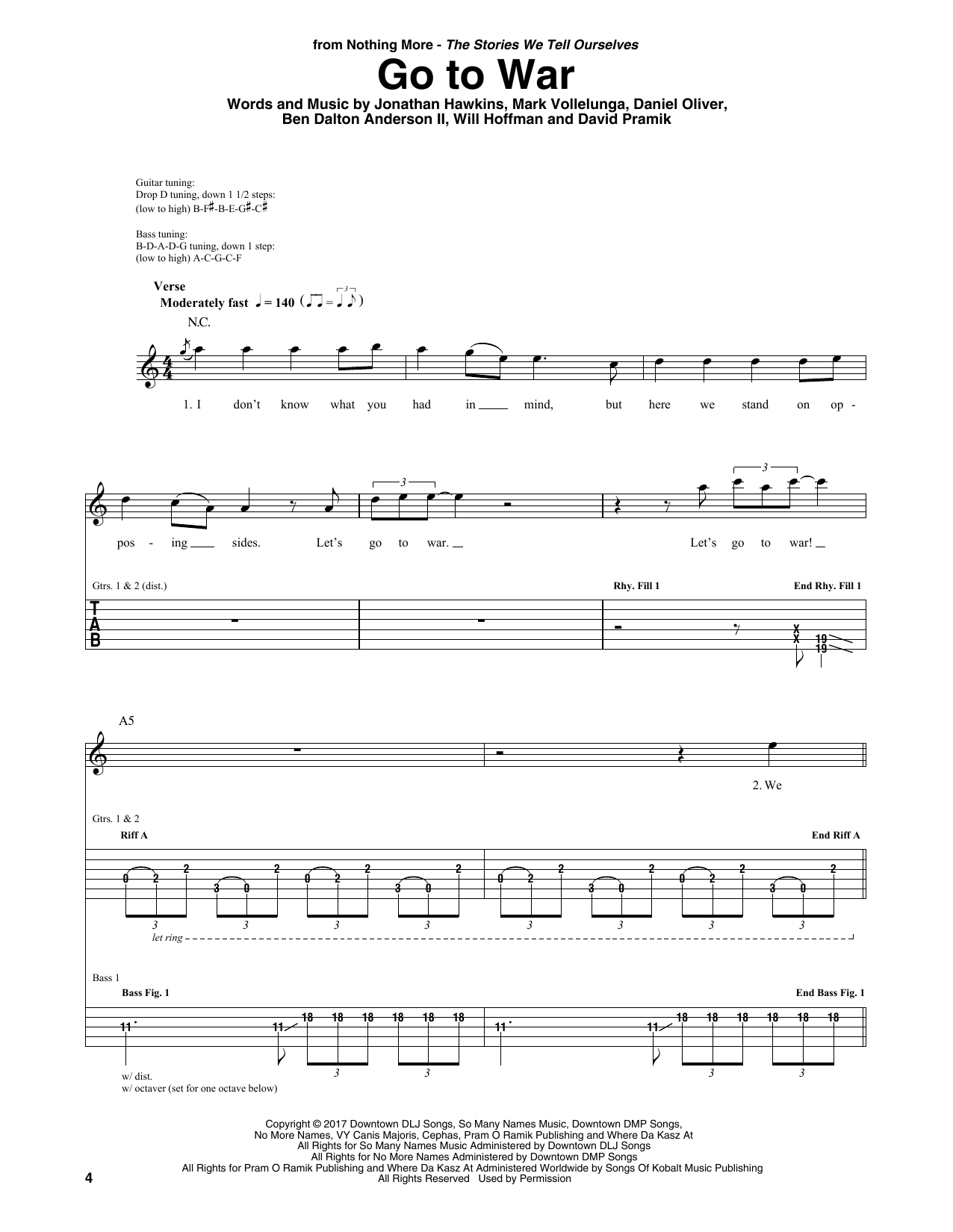 Go To War (Guitar Rhythm Tab)