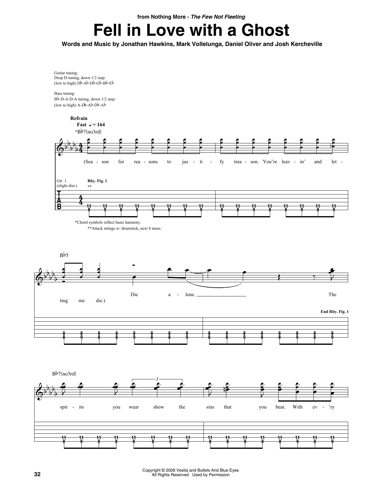 Fell In Love With A Ghost (Guitar Rhythm Tab)