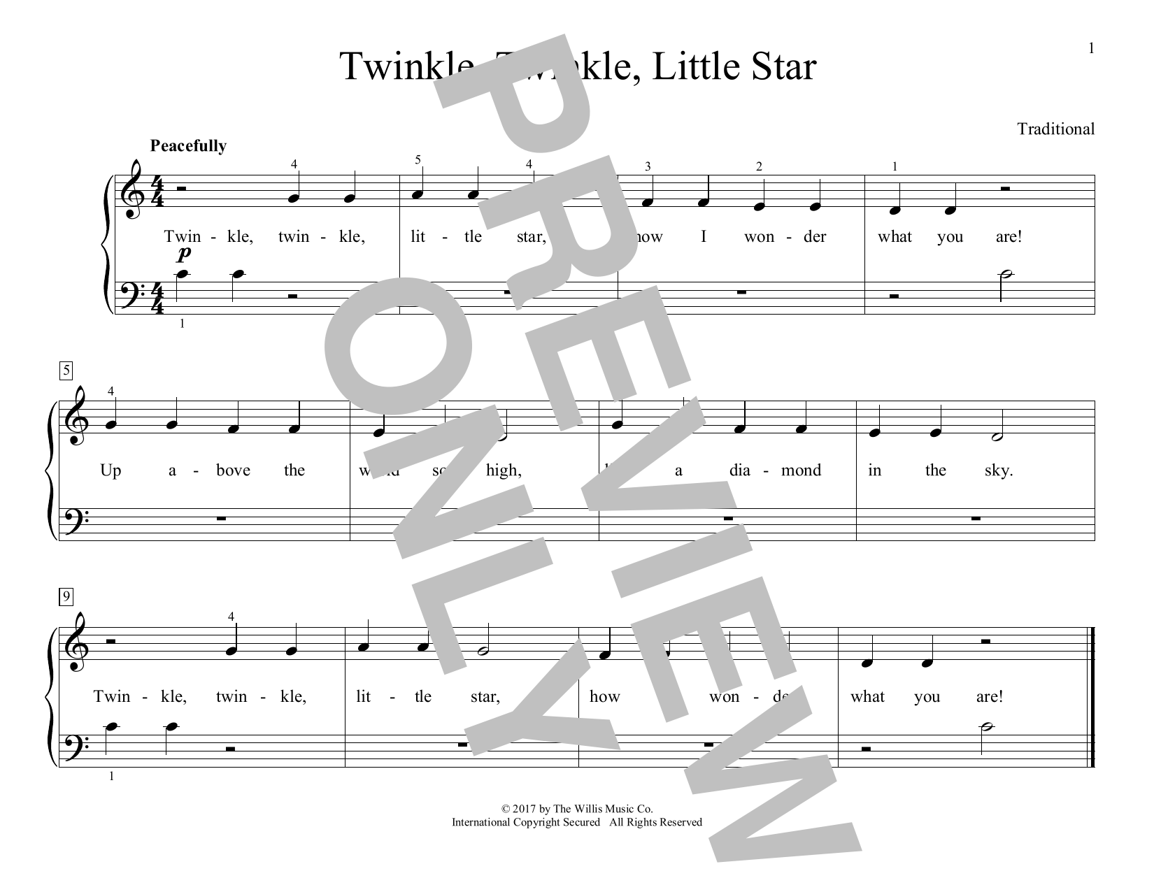 Twinkle, Twinkle, Little Star (arr. Christopher Hussey) (Educational Piano)