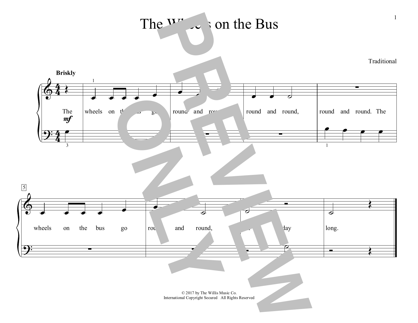 The Wheels On The Bus (arr. Christopher Hussey) (Educational Piano)