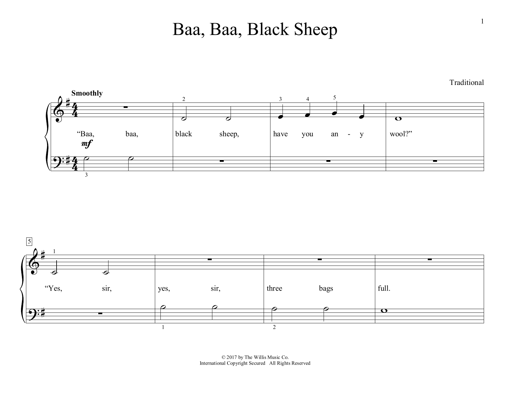 Baa, Baa, Black Sheep (arr. Christopher Hussey) (Educational Piano)