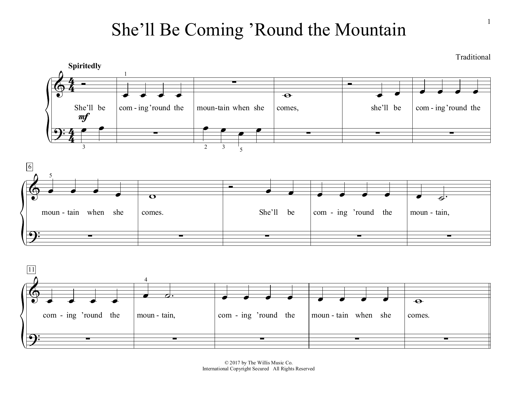 She'll Be Coming 'Round The Mountain (arr. Christopher Hussey) (Educational Piano)