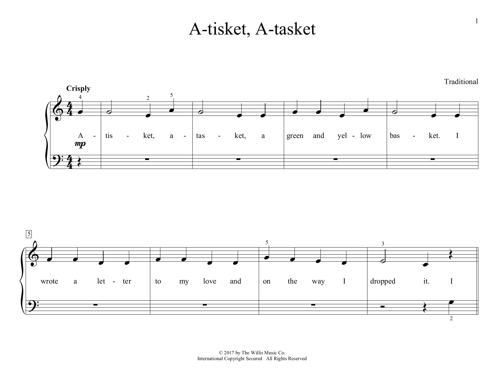 A-tisket, A-tasket (arr. Christopher Hussey) (Educational Piano)