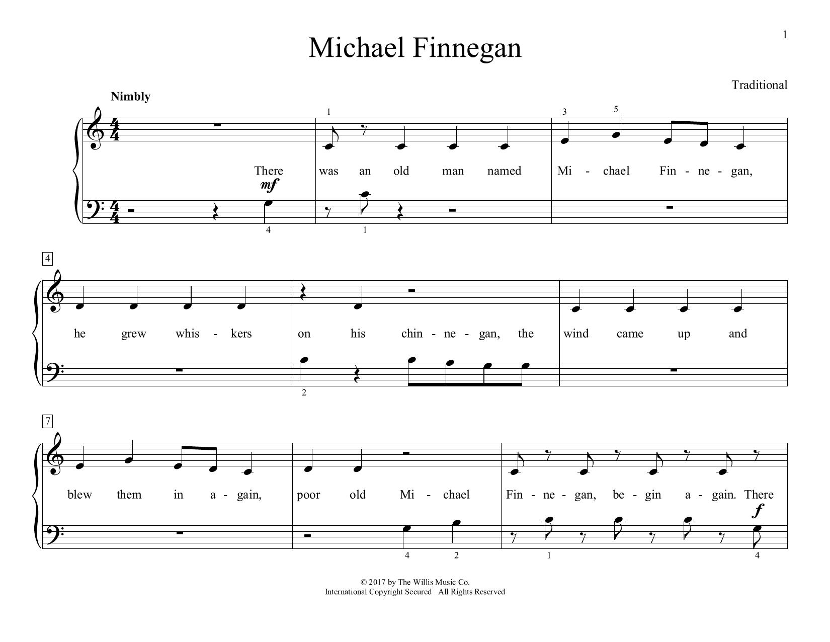 Michael Finnegan (arr. Christopher Hussey) (Educational Piano)