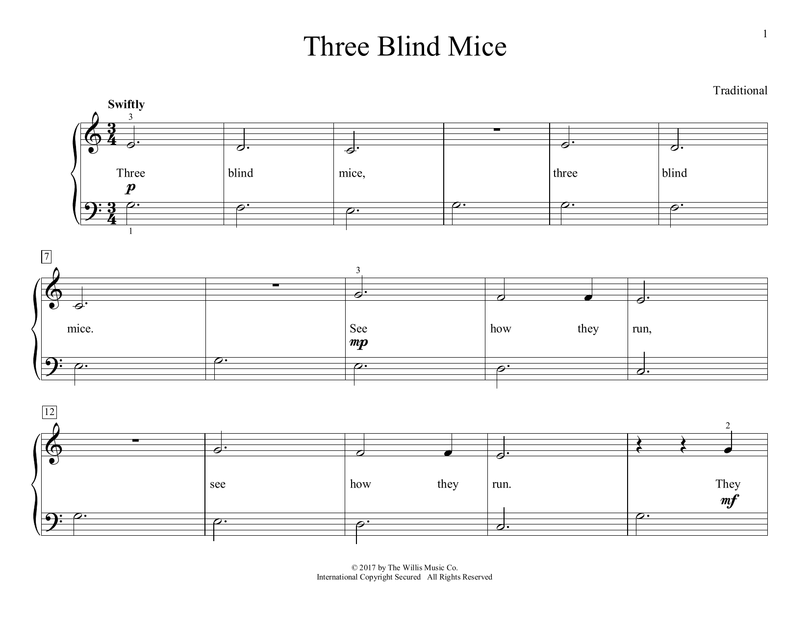 Three Blind Mice (arr. Christopher Hussey) (Educational Piano)