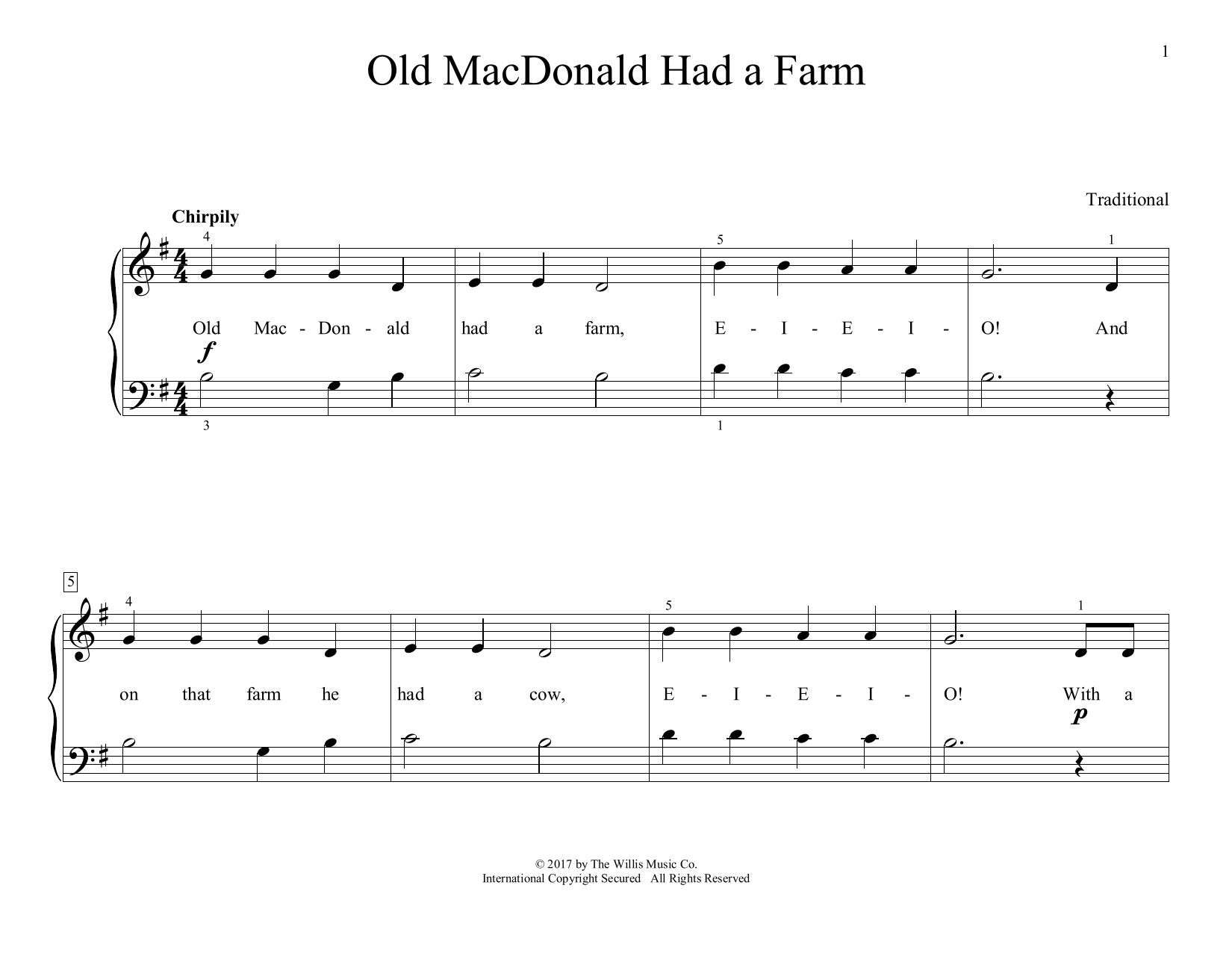 Old MacDonald Had A Farm (arr. Christopher Hussey) (Educational Piano)