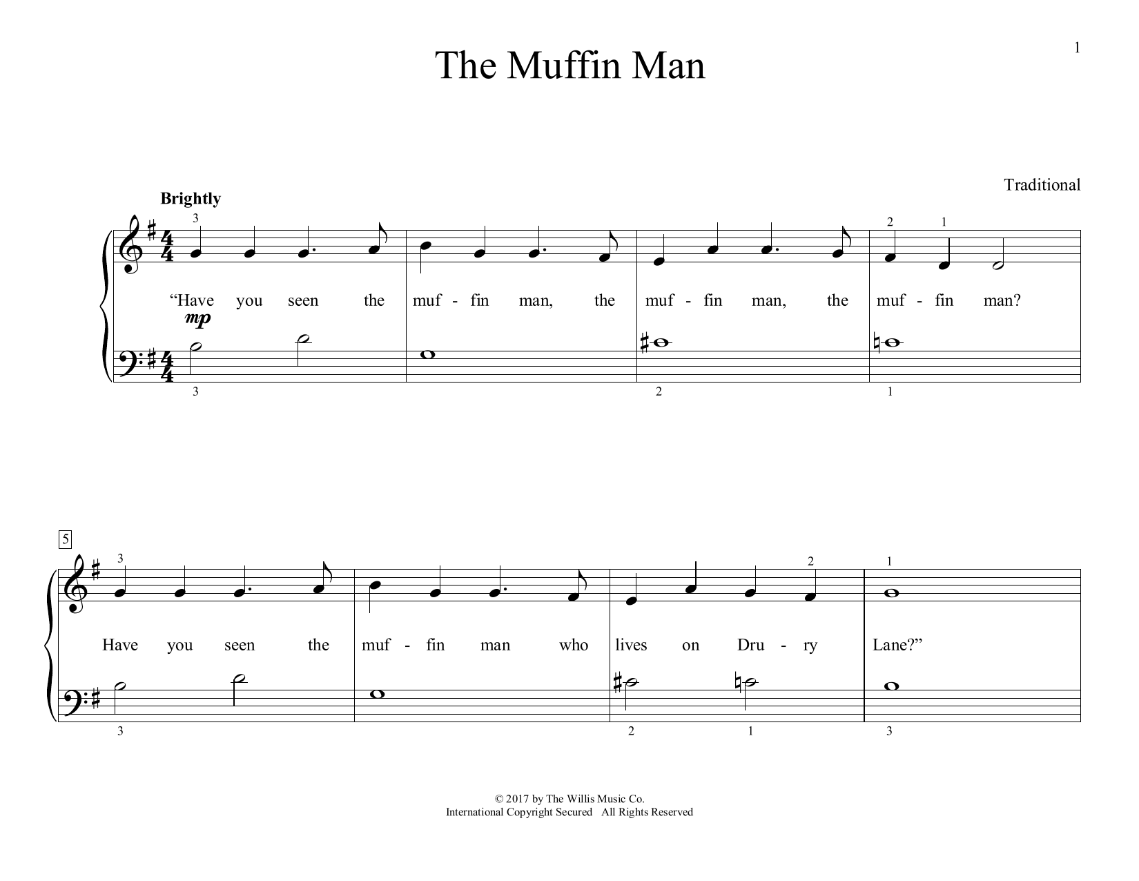 The Muffin Man (arr. Christopher Hussey) (Educational Piano)
