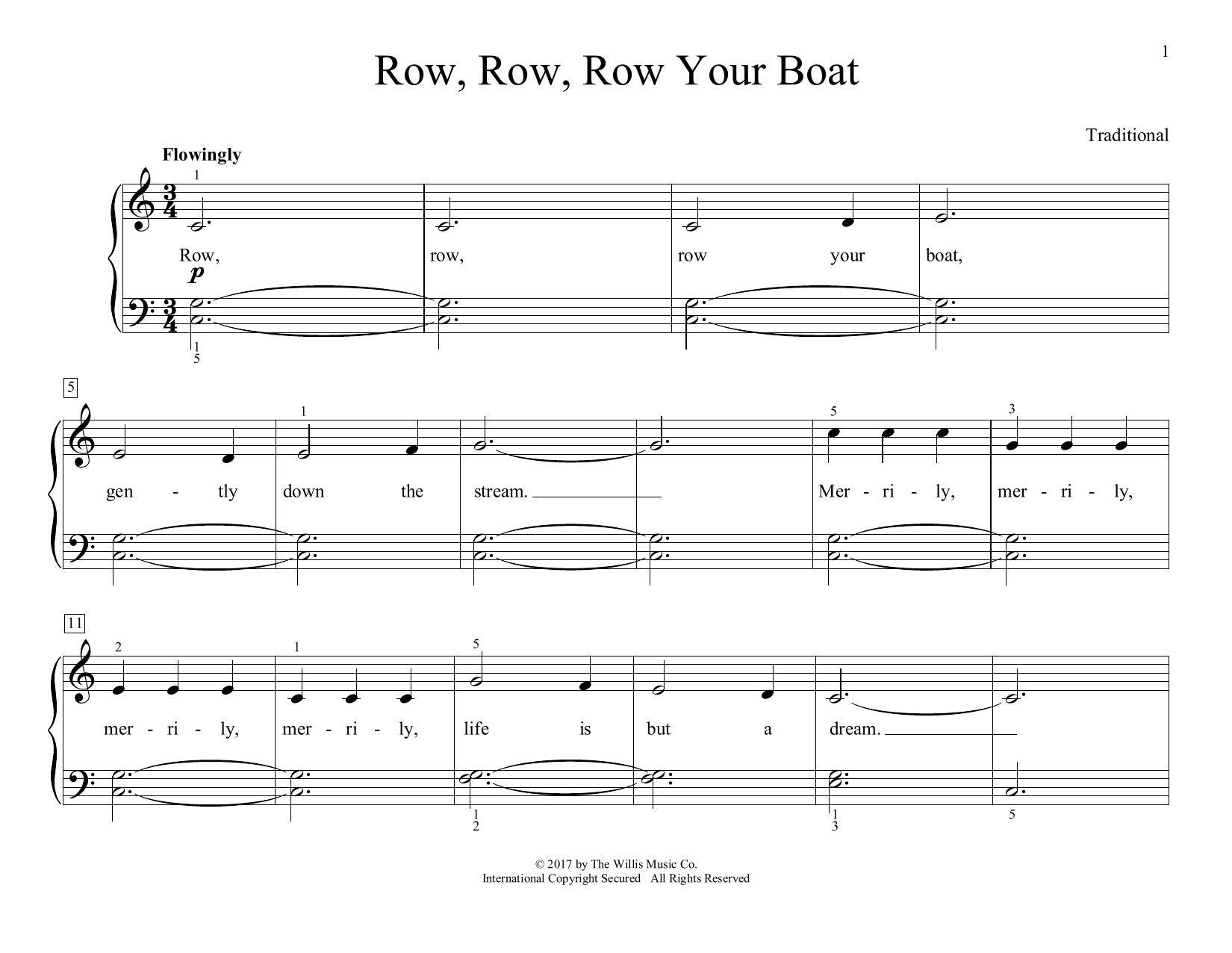 Row, Row, Row Your Boat (arr. Christopher Hussey) (Educational Piano)