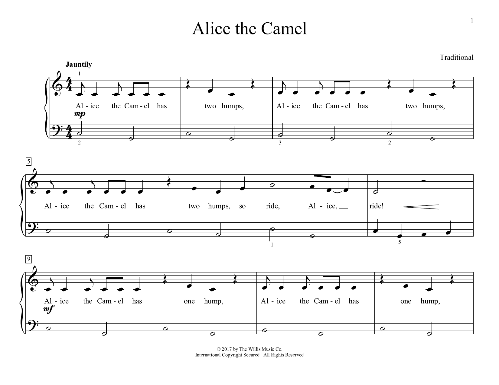Alice The Camel (arr. Christopher Hussey) (Educational Piano)