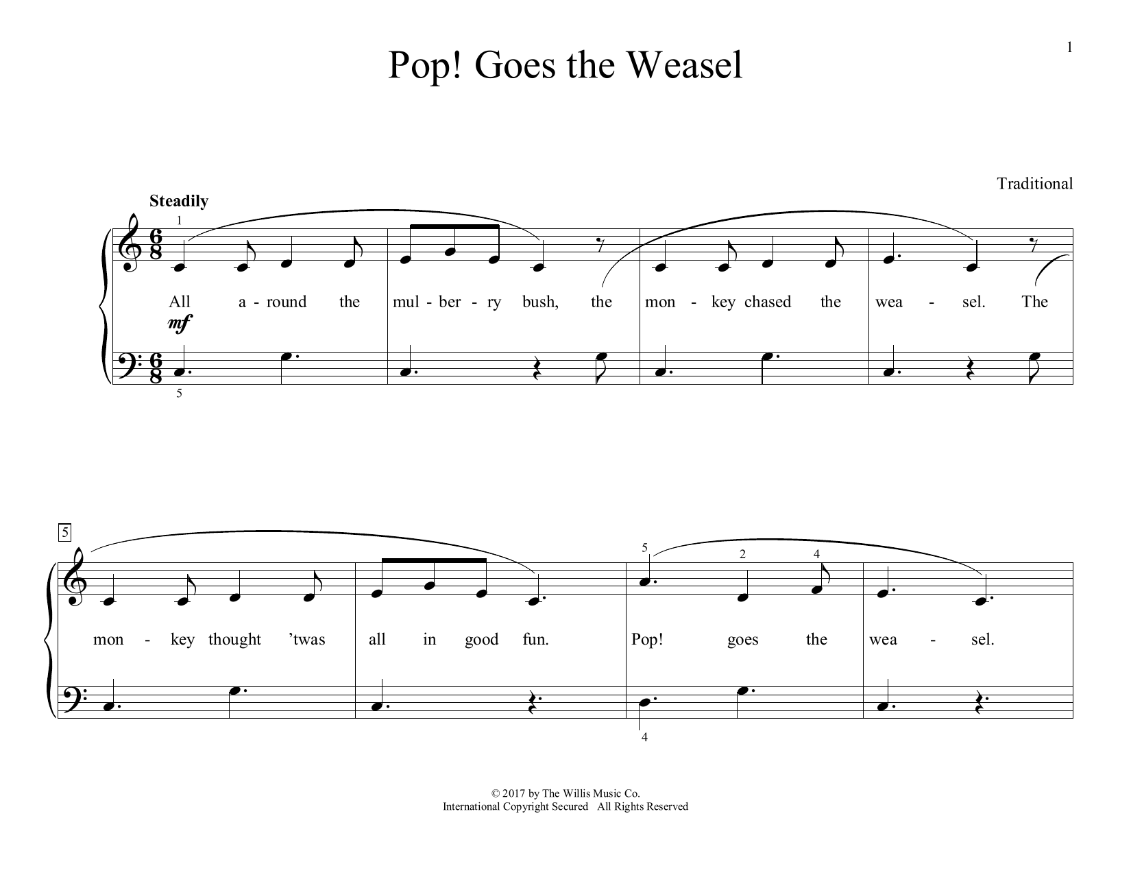 Pop! Goes The Weasel (arr. Christopher Hussey) (Educational Piano)