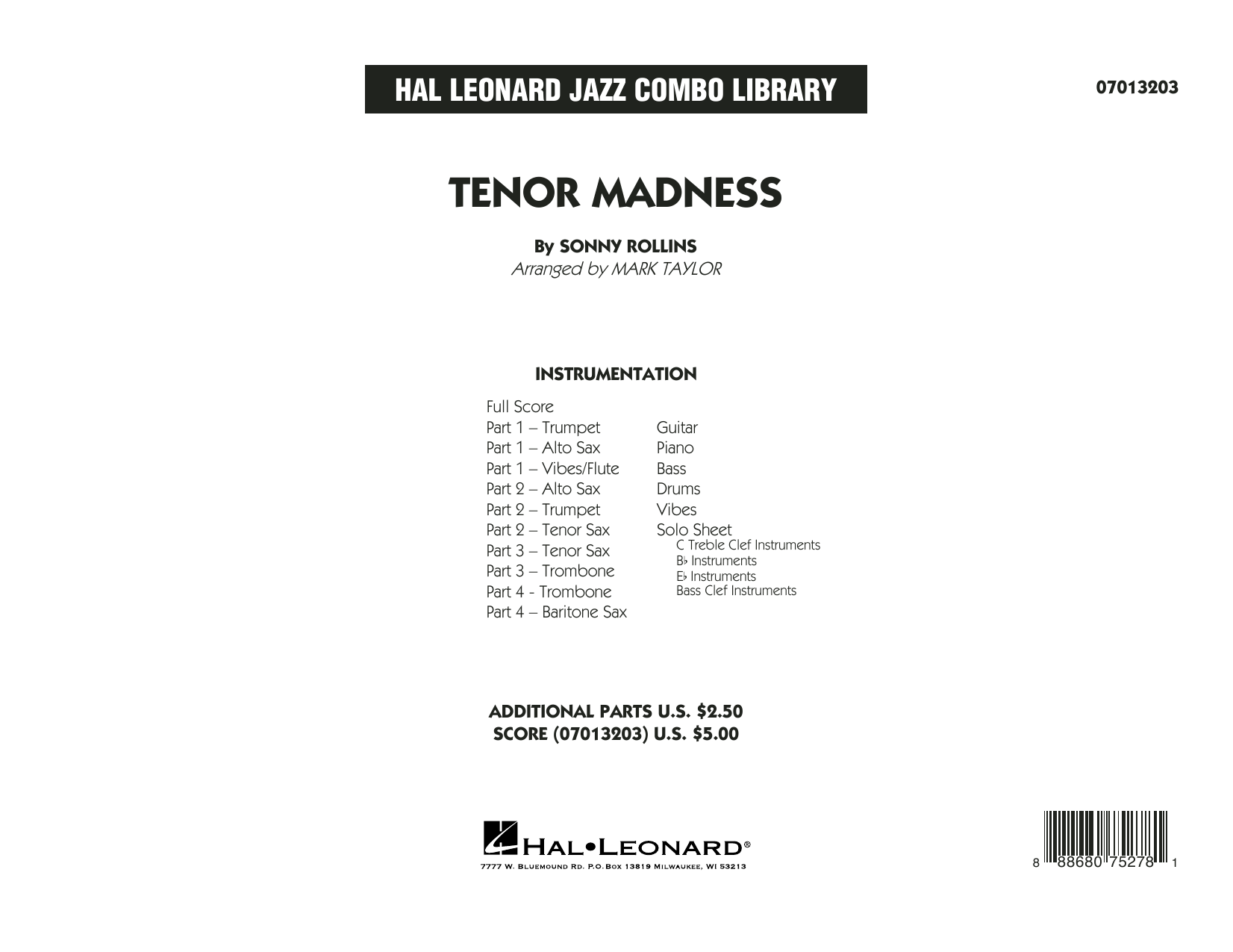 Tenor Madness (arr. Mark Taylor) - Conductor Score (Full Score) (Jazz Ensemble)