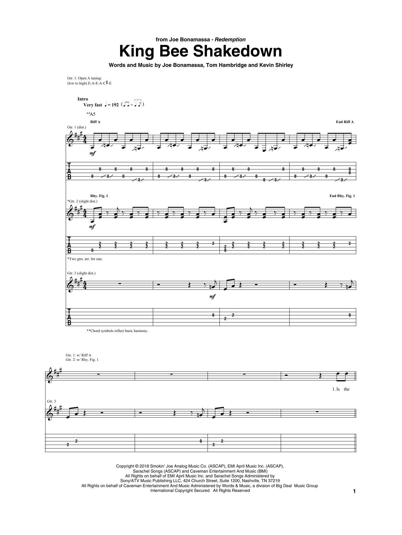 King Bee Shakedown (Guitar Tab)