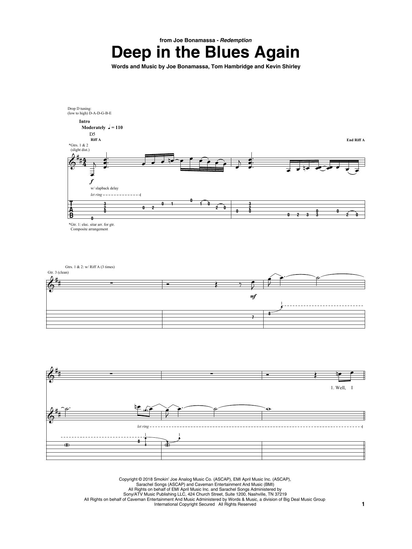 Deep In The Blues Again (Guitar Tab)