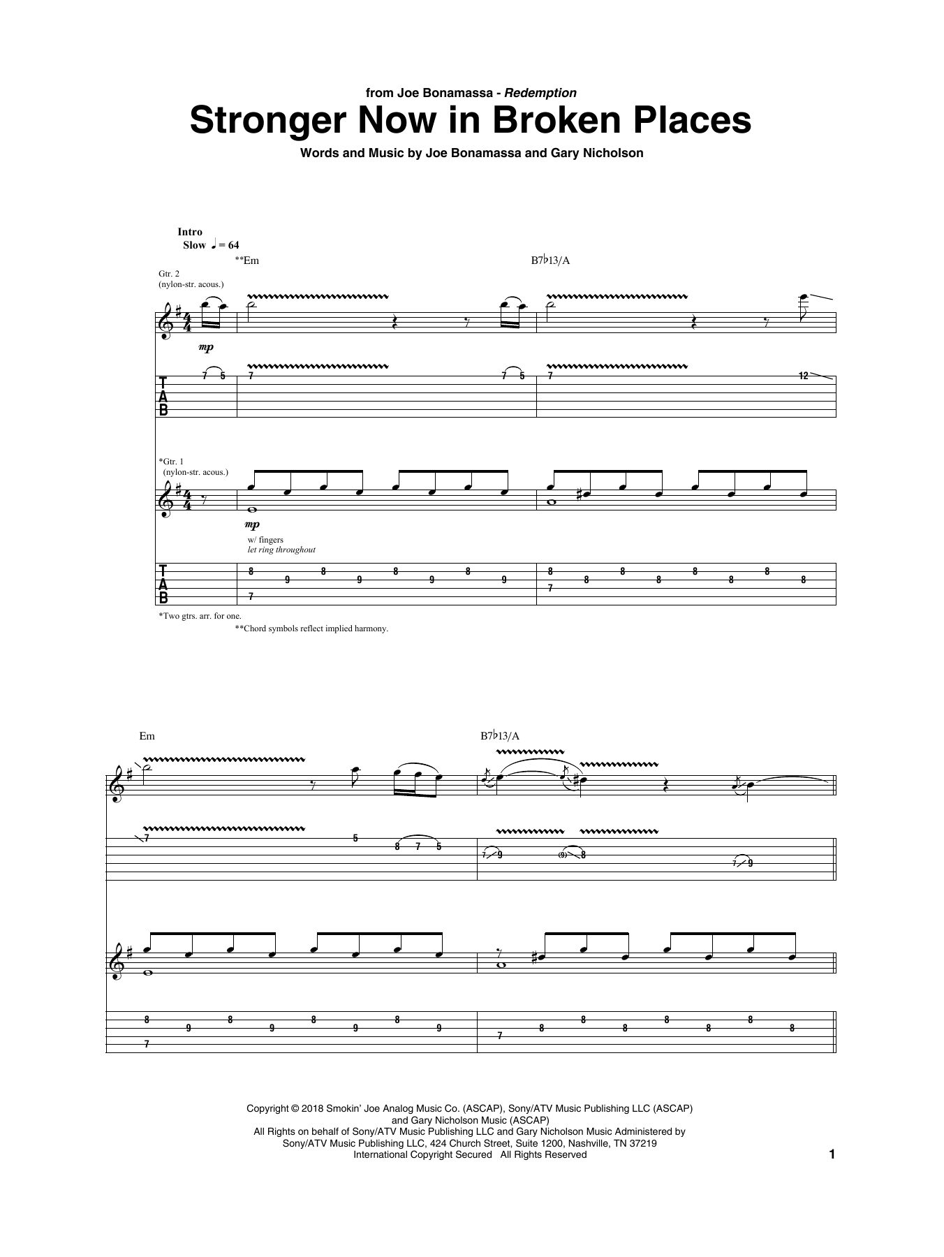 Stronger Now In Broken Places (Guitar Tab)