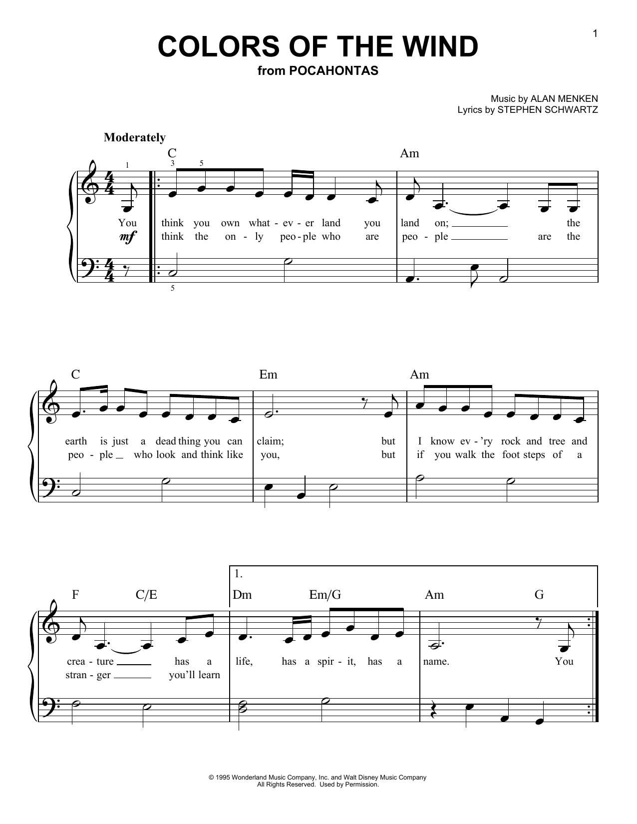 Colors Of The Wind (from Pocahontas) (Very Easy Piano)