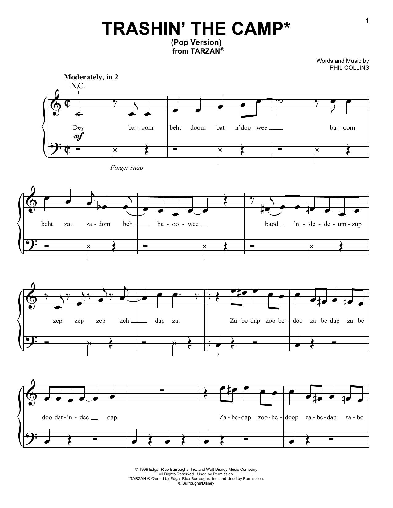 Trashin' The Camp (from Tarzan) (Pop Version) (Very Easy Piano)