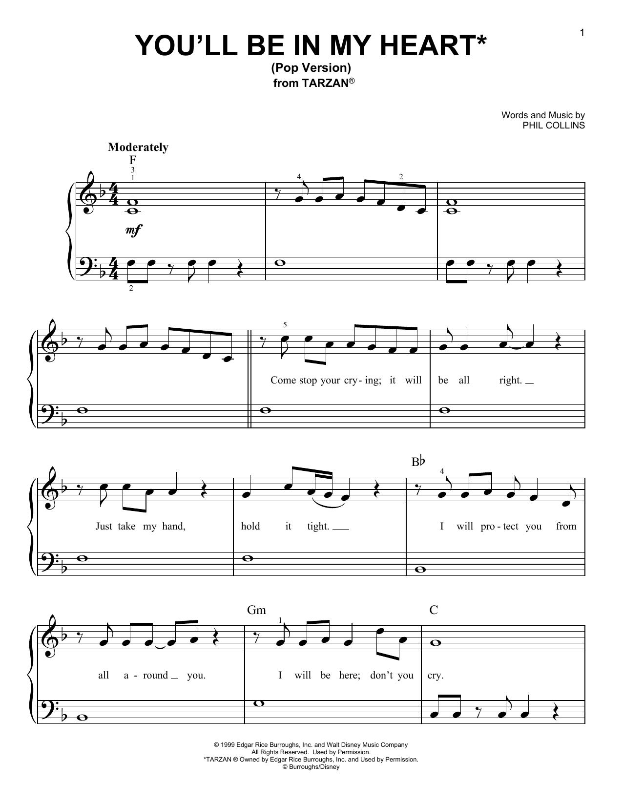 You'll Be In My Heart (Pop Version) (from Tarzan) (Very Easy Piano)