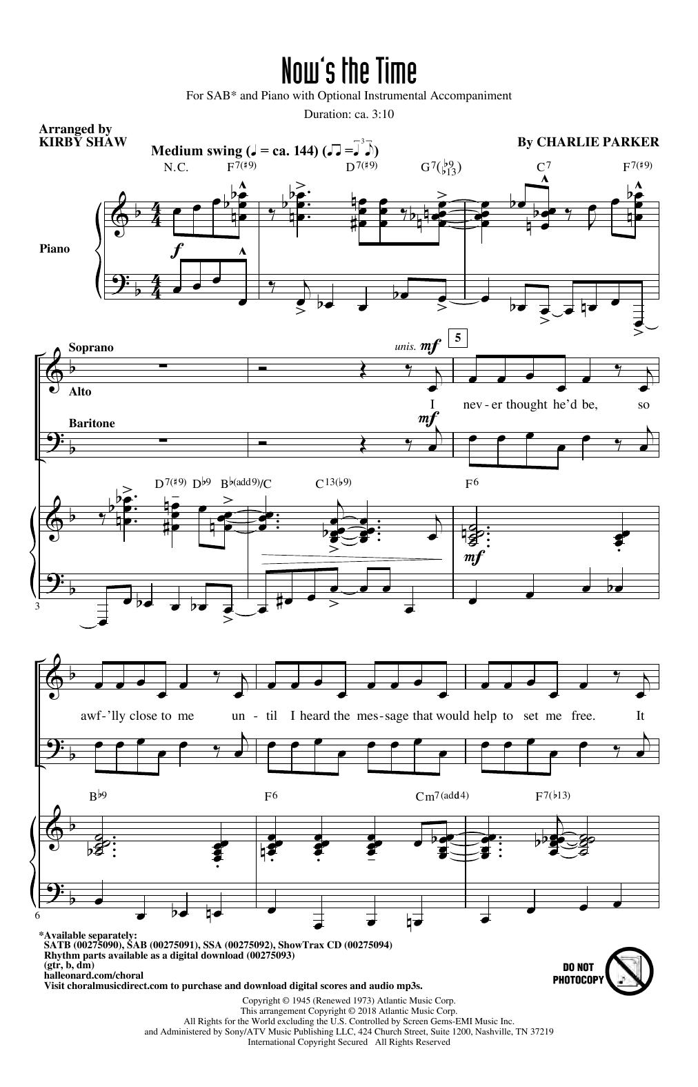 Now's The Time (arr. Kirby Shaw) (SAB Choir)