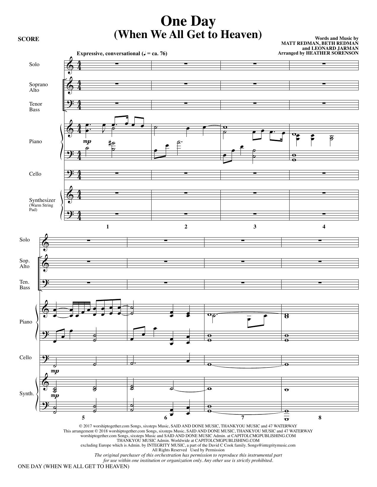 One Day (When We All Get to Heaven) (Arr. Heather Sorenson) - Full Score (Choir Instrumental Pak)