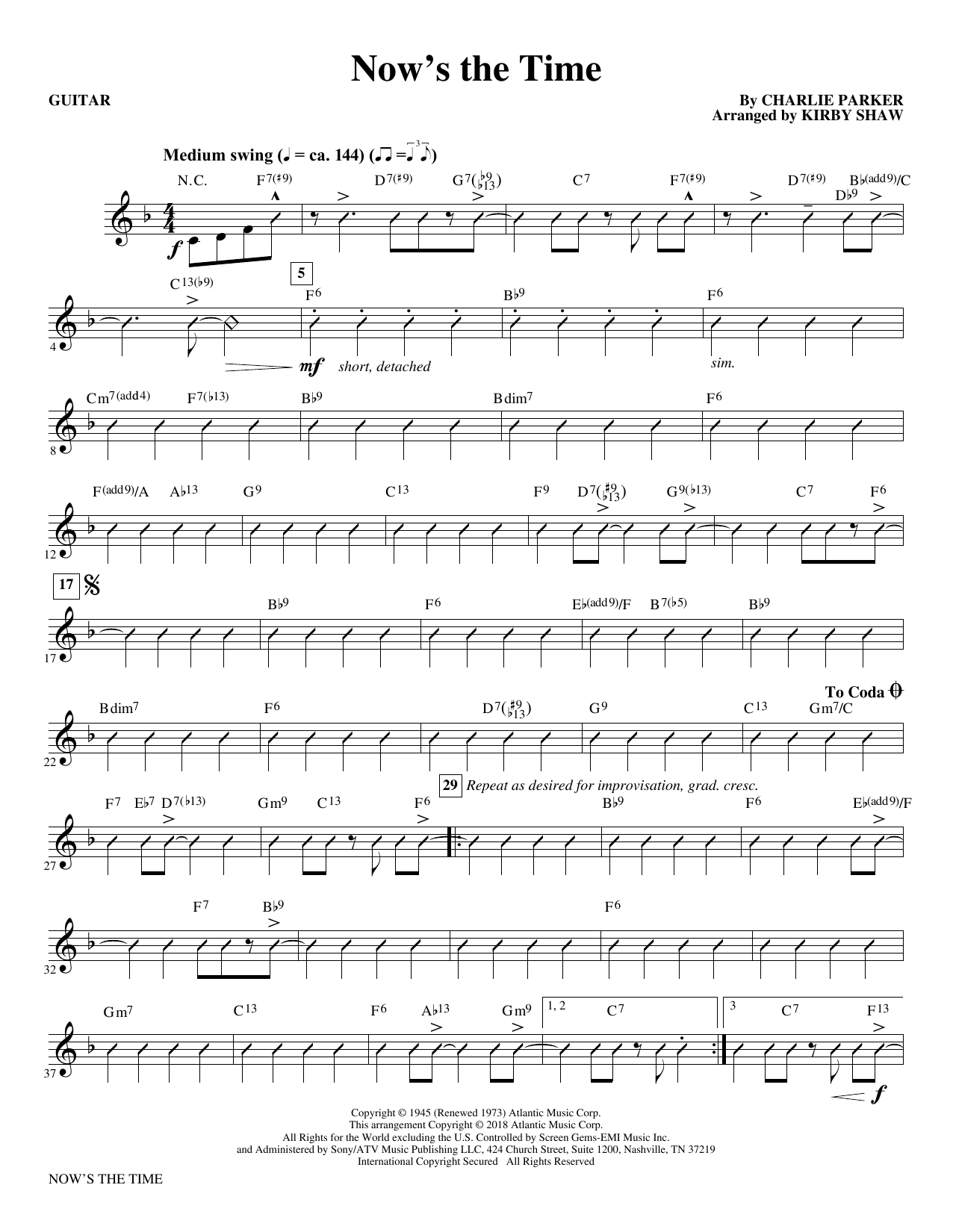 Now's the Time (arr. Kirby Shaw) - Guitar (Choir Instrumental Pak)